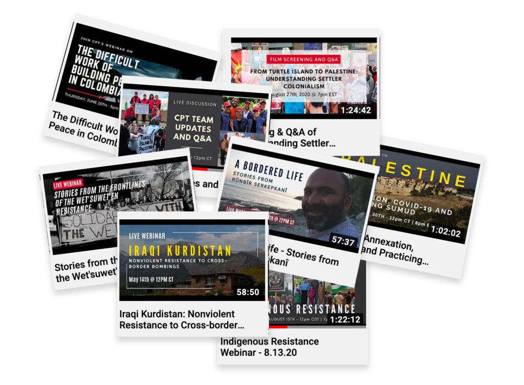 Een verzameling screenshots van recent door Christian Peacemaker Teams georganiseerde webinars